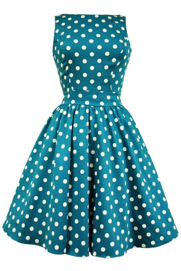 Jade Polka Dot Tea Dress
