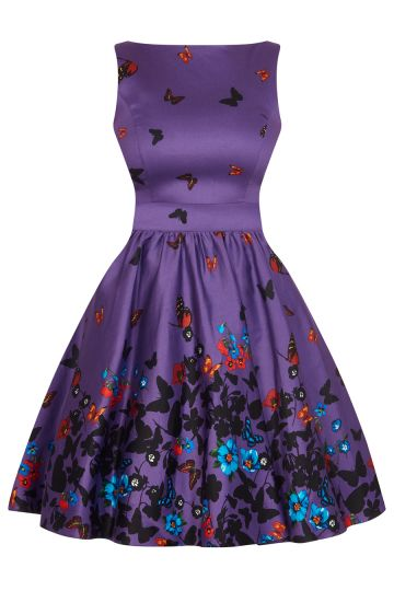 Purple Butterfly Border Tea Dress