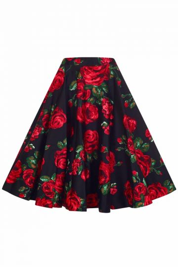 Full Circle Swing Skirt - Red Rose & Green Leaf