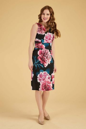 Jocelyn Dress - Pink Peonies on Black