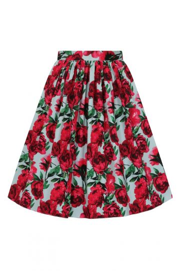 Skirt- Red Flower Blue