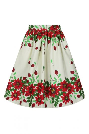 Skirt - Red Flower Border