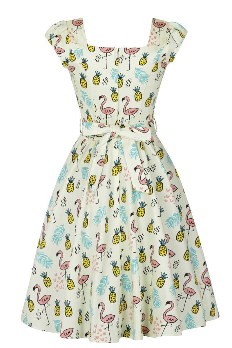 500 Vintage Style Dresses for Sale | Vintage Inspired Dresses Lady V London Swing Dress - Tiki Flamingo £38.00 AT vintagedancer.com