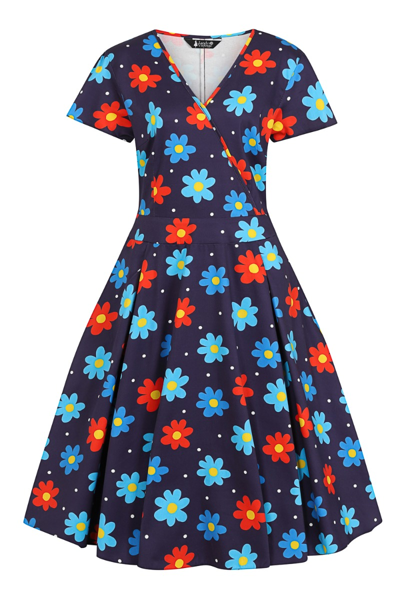 60s Dresses | 1960s Dresses Mod, Mini, Hippie Lady V London Navy Daisy £55.00 AT vintagedancer.com