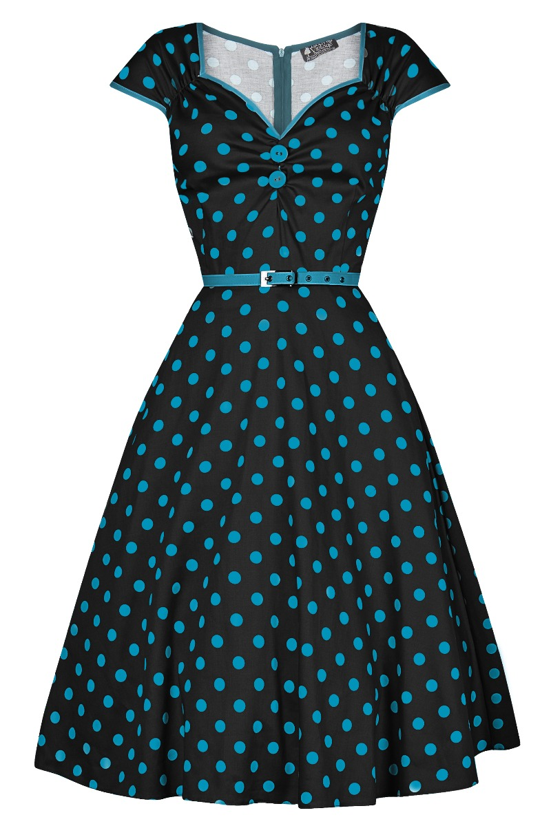 Rockabilly Dresses | Rockabilly Clothing | Viva Las Vegas Lady V London Isabella Dress - Black with Teal Polka Dot £35.00 AT vintagedancer.com