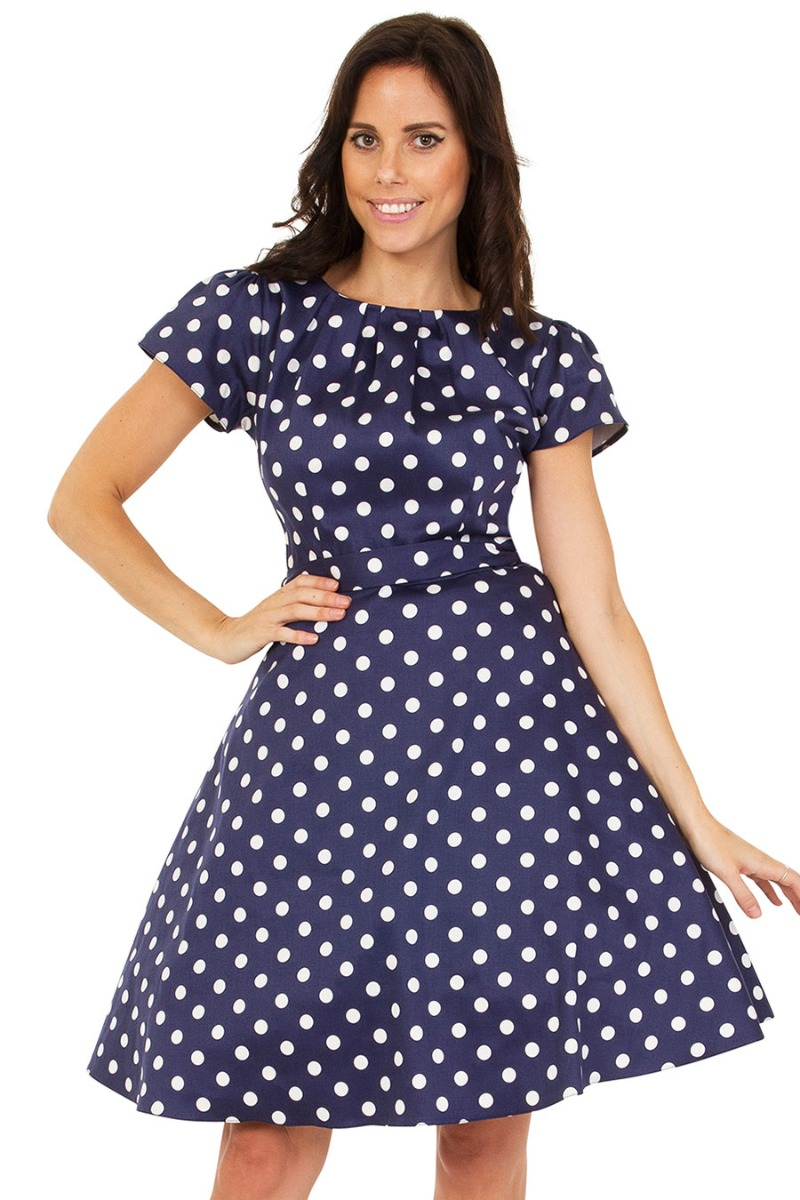 Rockabilly Dresses | Rockabilly Clothing | Viva Las Vegas Lady V London Day Dress - Navy Polka Dot £20.00 AT vintagedancer.com