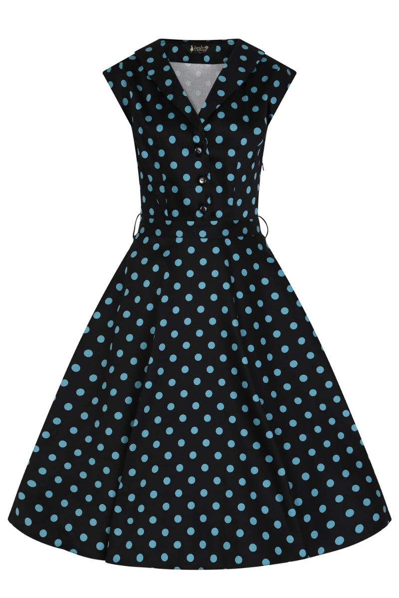 500 Vintage Style Dresses for Sale | Vintage Inspired Dresses Lady V London Black  Teal Polka £60.00 AT vintagedancer.com