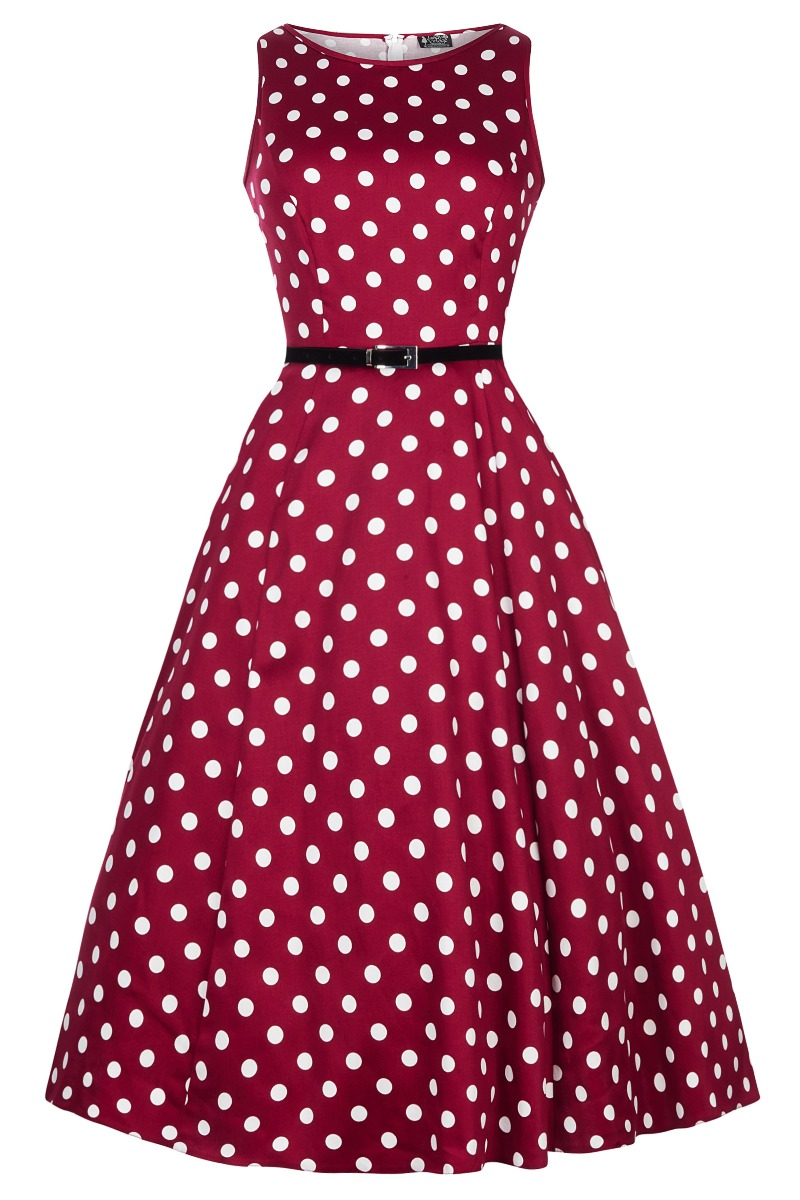 Rockabilly Dresses | Rockabilly Clothing | Viva Las Vegas Lady V London Hepburn Dress - Vermillion Polka Dot £55.00 AT vintagedancer.com