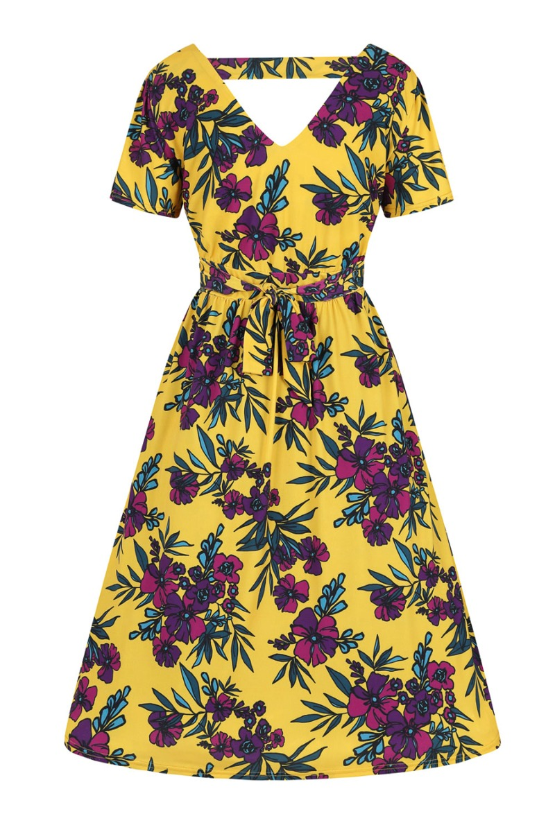Retro Tiki Dress – Tropical, Hawaiian Dresses Lady V London Bonnie Dress - Tuscan Sun Violetta £50.00 AT vintagedancer.com