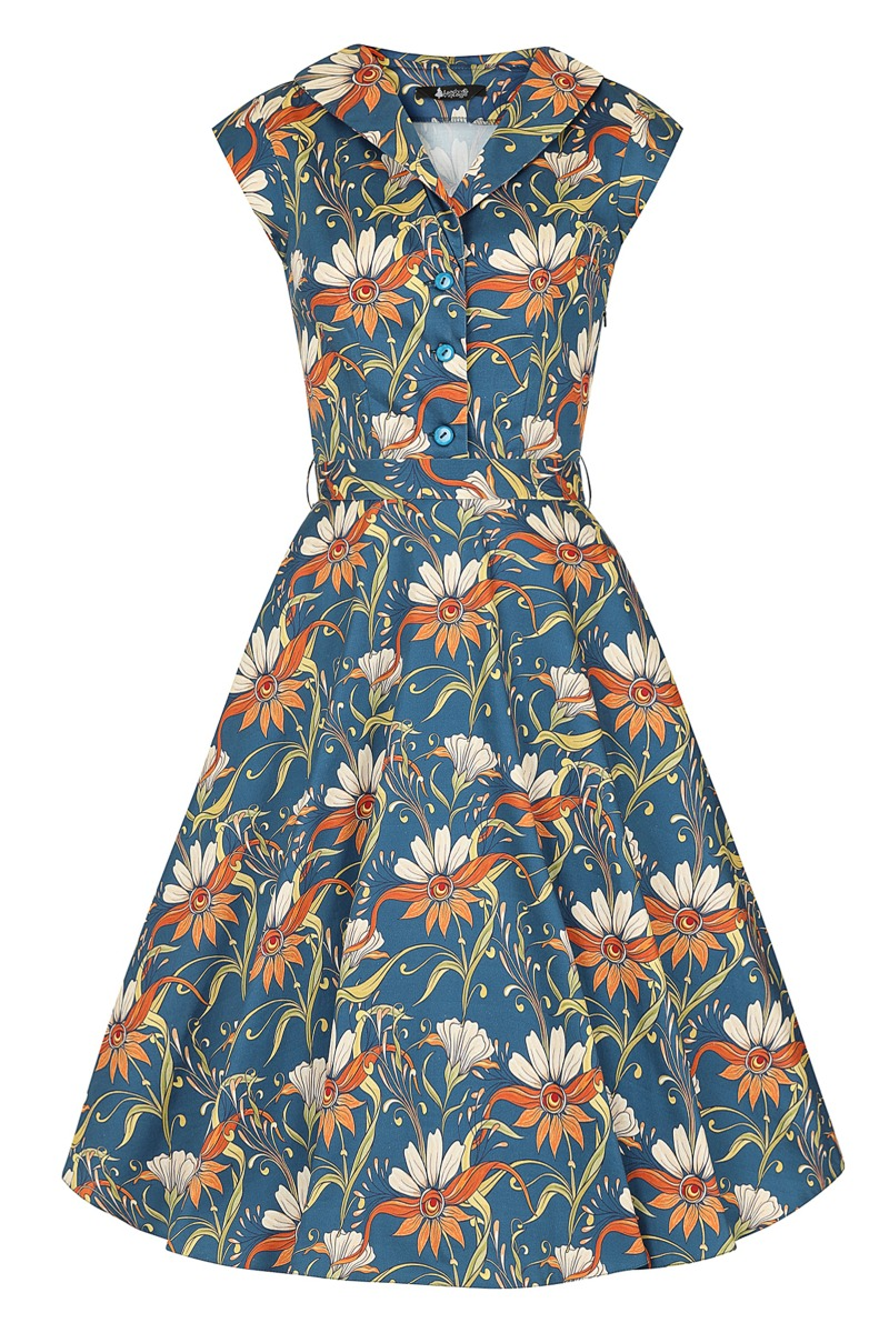 50s Dresses UK | 1950s Dresses, Shoes & Clothing Shops Lady V London Florence Dress - Navy Floral PRE-ORDER £25.00 AT vintagedancer.com