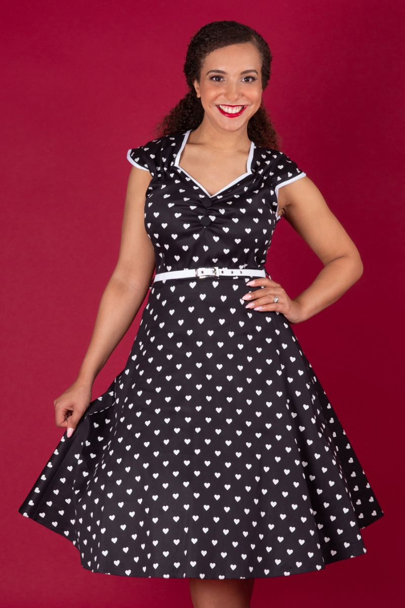 Rockabilly Dresses | Rockabilly Clothing | Viva Las Vegas Lady V London Isabella Dress - Sweetheart £50.00 AT vintagedancer.com