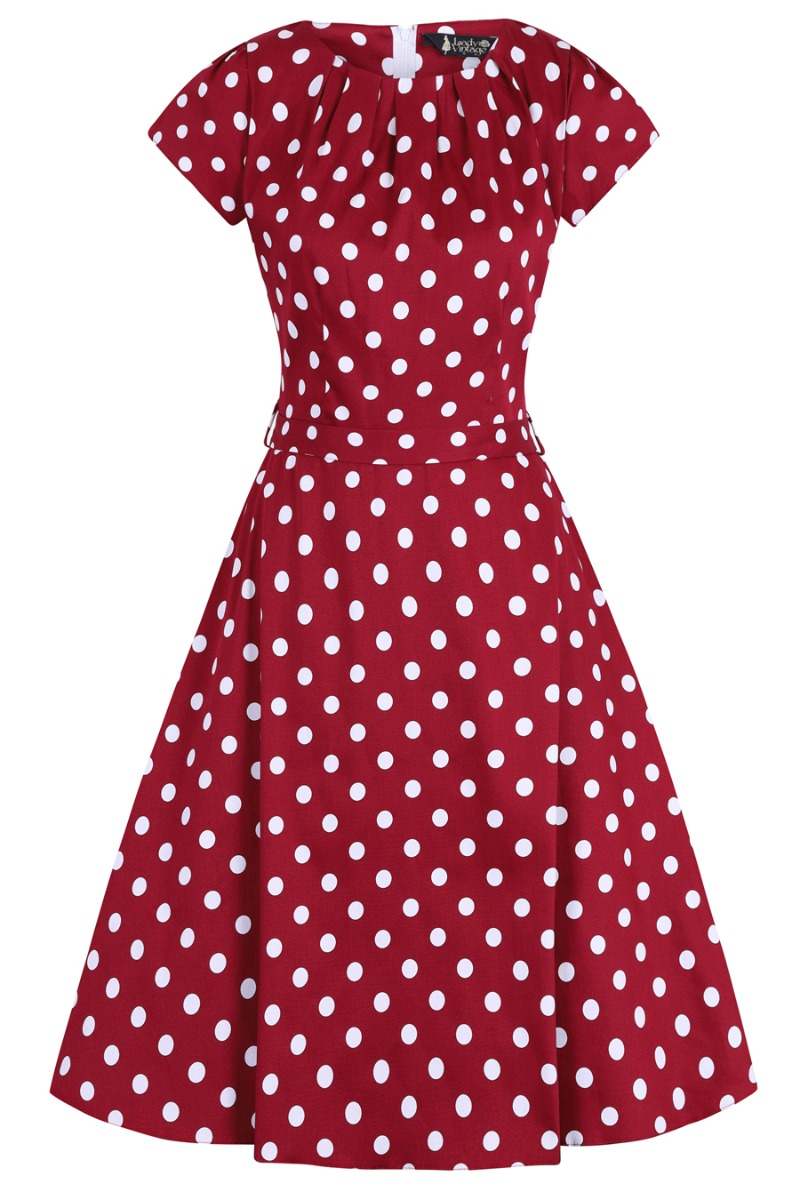 500 Vintage Style Dresses for Sale | Vintage Inspired Dresses Lady V London Day Dress - Wine Polka Dot £35.00 AT vintagedancer.com