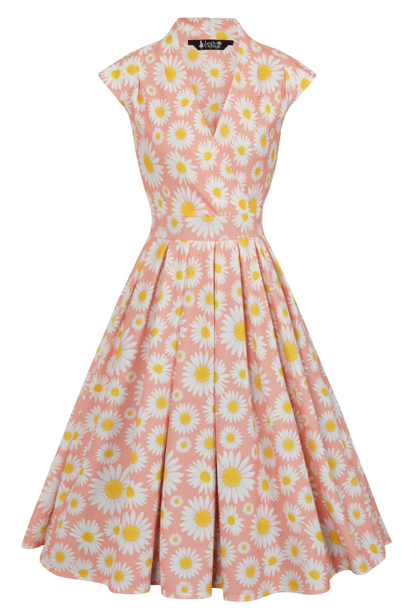 60s Dresses & 60s Style Dresses UK Lady V London Blush Daisy £38.00 AT vintagedancer.com