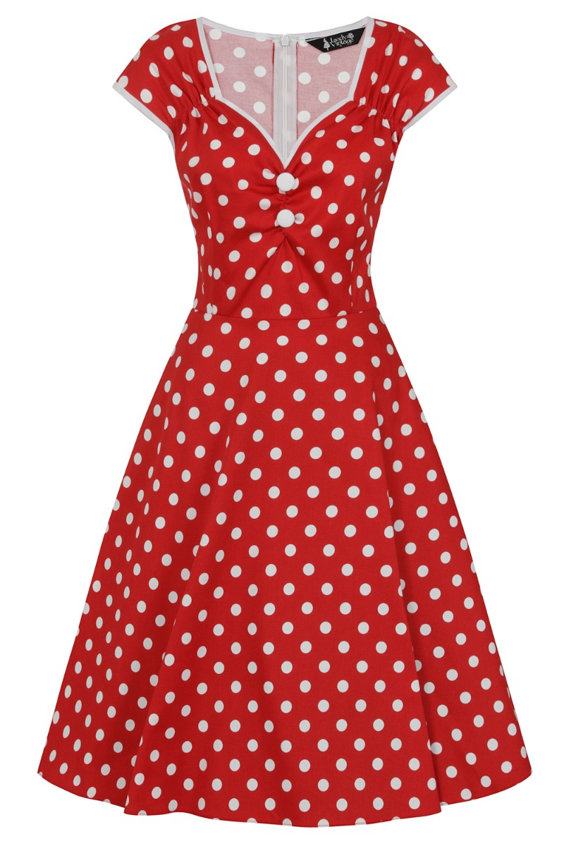 1950s Inspired Fashion: Recreate the Look Lady V London Red  White Polka Dot £50.00 AT vintagedancer.com