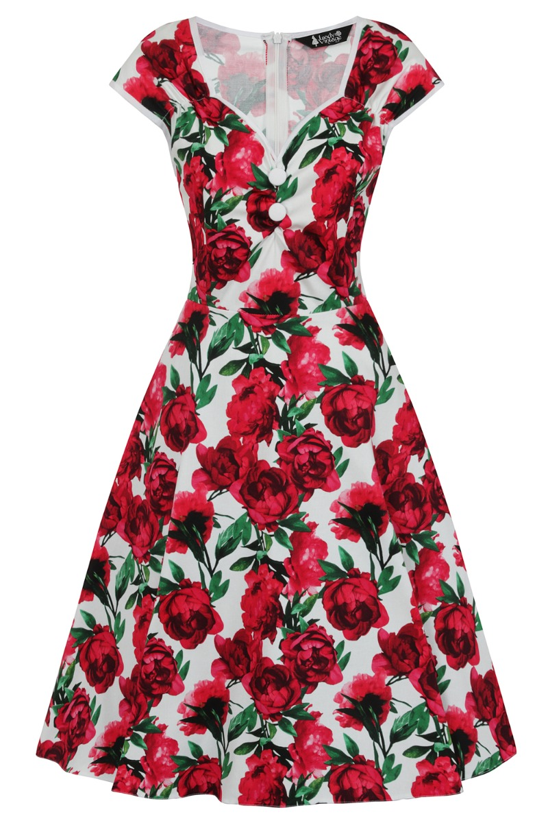 1950s Dresses, 50s Dresses | 1950s Style Dresses Lady V London Isabella Dress - Red Flower - White £35.00 AT vintagedancer.com