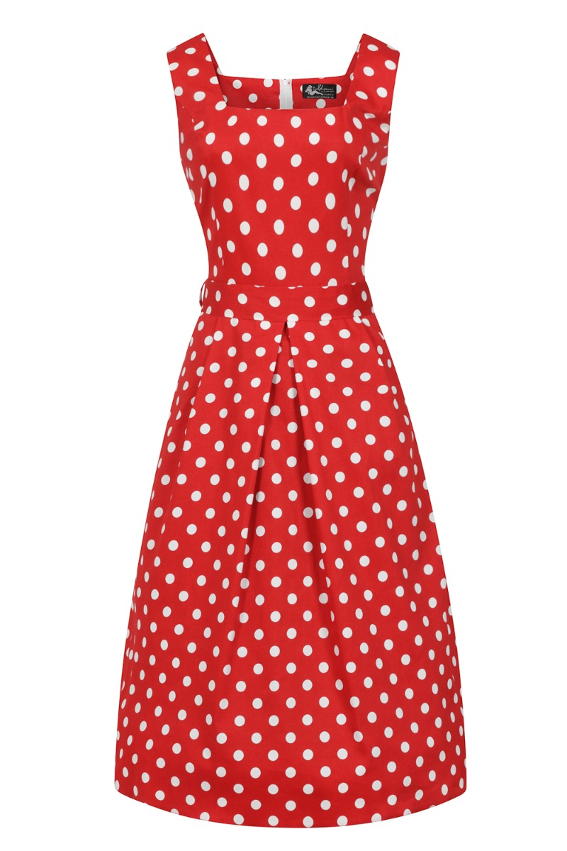 1950s Plus Size Dresses, Swing Dresses Lady V London Red Polka Dot £50.00 AT vintagedancer.com